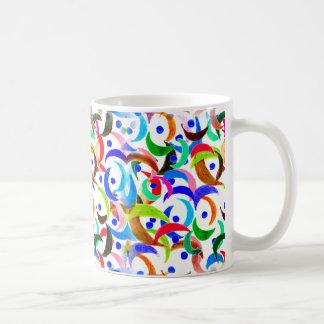 Colorful Moon Slices Design on Coffee Mug