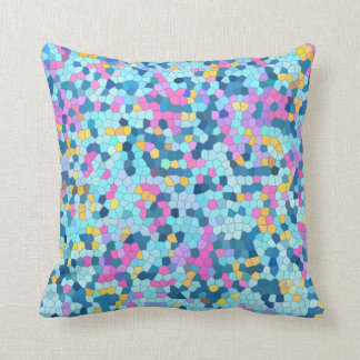 Colorful Mosaic / Blue Pink Yellow pillow Throw Cushions