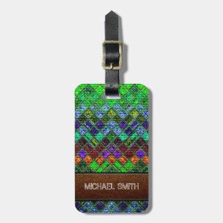 Colorful Mosaic Burlap Elegant Leather Look #3 Luggage Tag