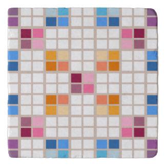 Colorful mosaic look checks pattern trivets