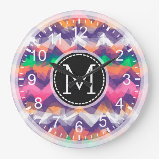 Colorful Mosaic Modern Monogram #10 Large Clock
