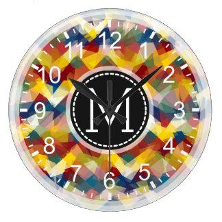 Colorful Mosaic Modern Monogram #4 Large Clock