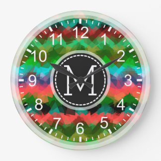 Colorful Mosaic Modern Monogram Large Clock