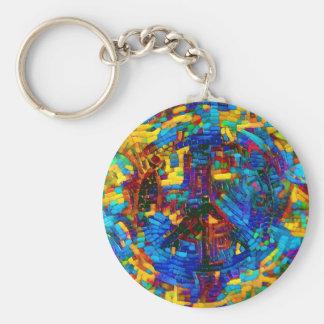 Colorful mosaic peace symbol basic round button key ring