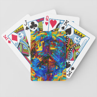 Colorful mosaic peace symbol bicycle playing cards
