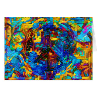 Colorful mosaic peace symbol card