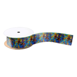 Colorful mosaic peace symbol satin ribbon