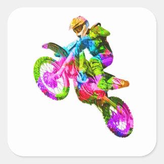 Colorful Motocrosser Square Sticker