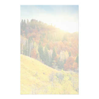 Colorful mountain autumn landscape custom stationery