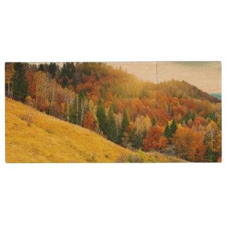 Colorful mountain autumn landscape wood USB 2.0 flash drive