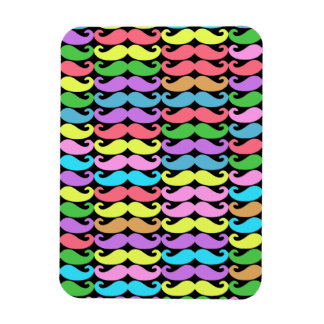 Colorful moustache pattern rectangular photo magnet