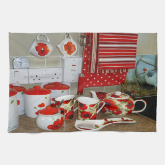 Colorful Mugs and Canister Set Kitchen Towel Decor