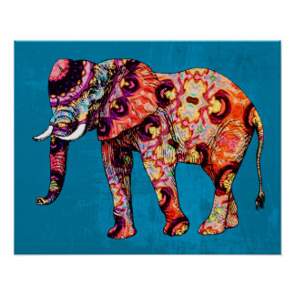 Colorful Multicolored Elephant on Blue Background Poster