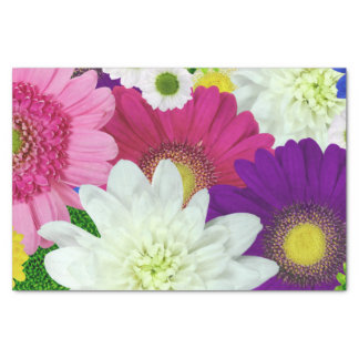 Colorful Multicolored Flowers Art Tissue Paper