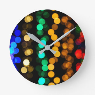 Colorful MultiColored Lights Round Clock