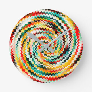 Colorful Multicolored Pattern Round Clock