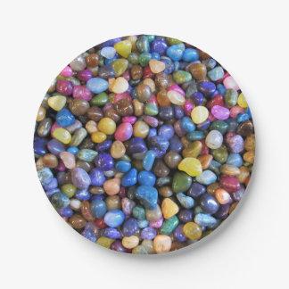 Colorful Multicolored Pebbles 7 Inch Paper Plate