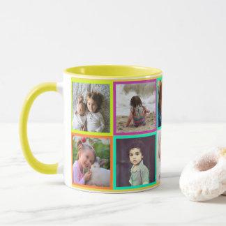 Colorful multicolored photo frames mug