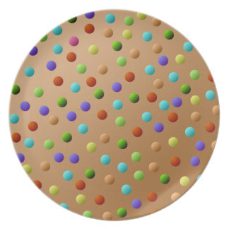 Colorful Multicolored Polka Dot Pattern Plate