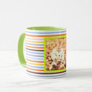 Colorful multicolored stripes and custom photo mug