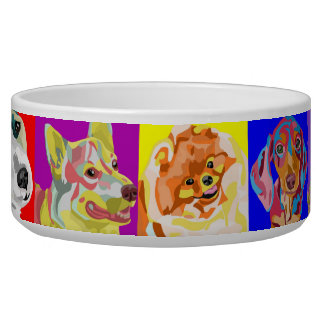 Colorful Multiple Breed Dog Bowl