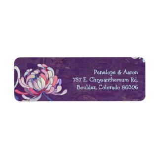 Colorful Mum Purple Wedding Address Labels