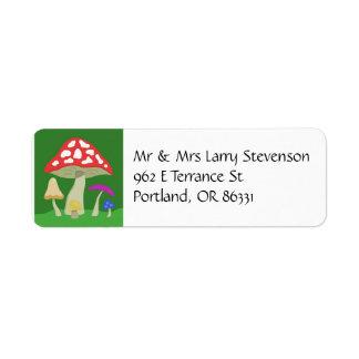 Colorful Mushrooms address label