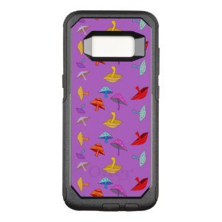 colorful mushrooms on purple OtterBox commuter samsung galaxy s8 case