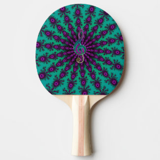 Colorful Music Clef on Star Fractal Ping Pong Paddle