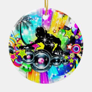 Colorful Music DJ Round Ceramic Decoration