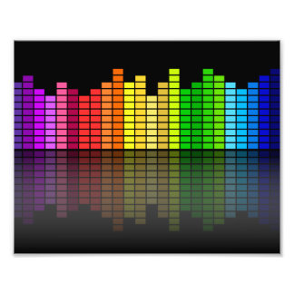 Colorful Music Equalizer w/Reflection, Cool Techno Art Photo