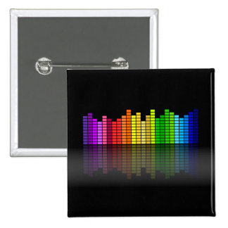 Colorful Music Equalizer w/Reflection, Cool Techno 15 Cm Square Badge
