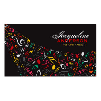 Colorful Music Musical Notes Artist Song Singing Business Card