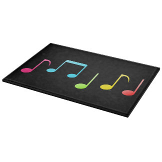 Colorful Music Notes Cutting Board - Black