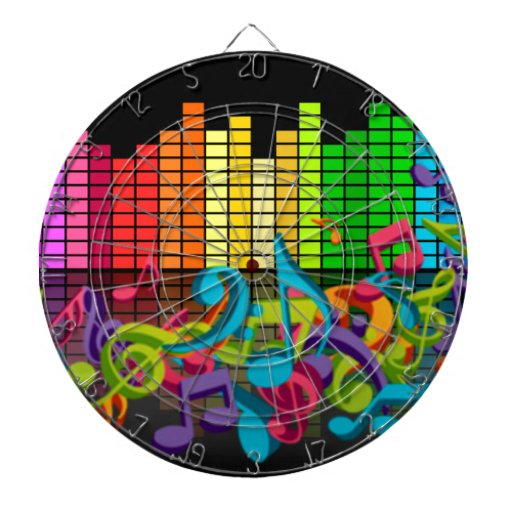 colorful music notes equalizer dartboards