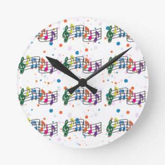 COLORFUL MUSIC NOTES ROUND WALL CLOCK
