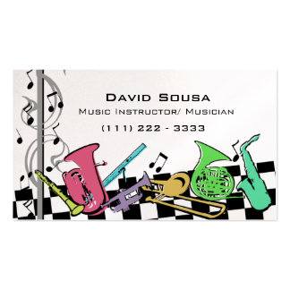 Colorful Musical Instruments Business Cards