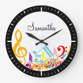 Colorful Musical Notes Large Clock