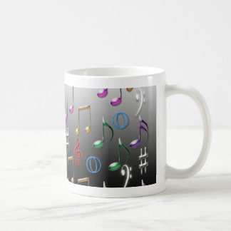 Colorful musical notes on grey background coffee mug