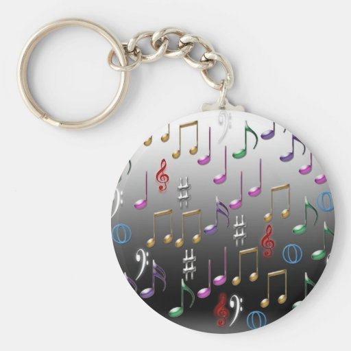 Colorful musical notes on grey background keychain