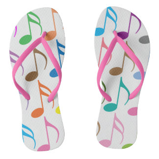 Colorful musical notes pattern thongs