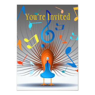 """Colorful Musical Notes Peacock 5"""" X 7"""" Invitation Card"""