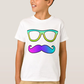 Colorful Mustache And Glasses T-Shirt