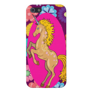Colorful Mystical Unicorn on Pink Purple Flowers iPhone 5/5S Cases