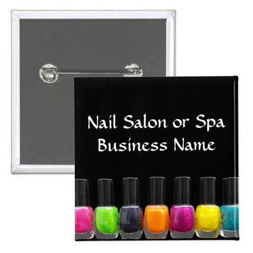 Colorful Nail Polish Bottles, Nail Salon Pinback Buttons