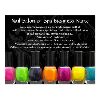 Colorful Nail Polish Bottles, Nail Salon Postcard
