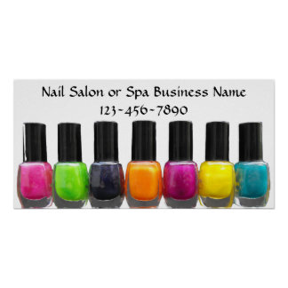 Colorful Nail Polish Bottles, Nail Salon Poster