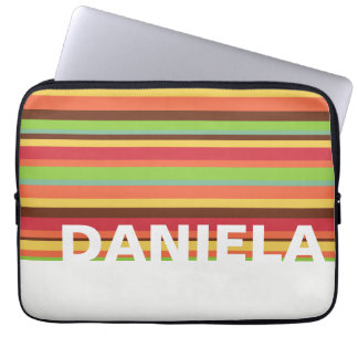 Colorful name design with stripes. Unisex style. Laptop Sleeve