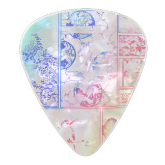 Colorful Nature Collage Asian Bird Flowers Squares Pearl Celluloid Guitar Pick