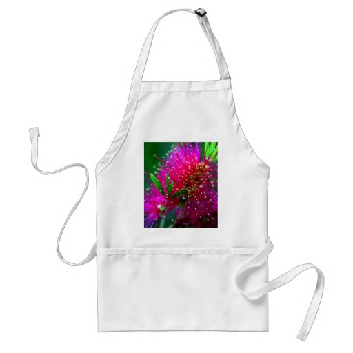 Colorful Nature Floral Hot Pink Neon Green Flowers Apron